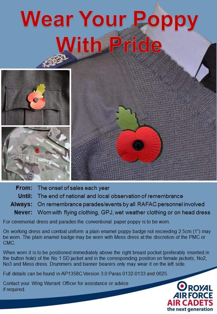 Compulsory Poppies - Uniform and Drill - Air Cadet Central